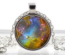 Space Pendant - Galaxy Necklace - Fox Fur Nebula Rainbow Jewelry - Star Sun Moon