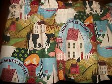 Folkart Saltbox House Cow Rooster LIghthouse fabric kitchen curtain Valance