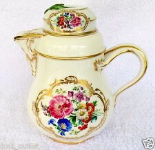 "18th Century MEISSEN Porcelain Floral Gilded Tea Pot - 7"" Tall"
