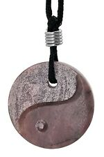 Yin Yang Pink Rhodonite Gemstone Pendant Hand Carved Stone Necklace Jewelry