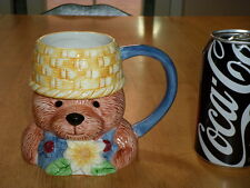 TEDDY BEAR IN OVERALLS, Ceramic Coffee Mug / Cup