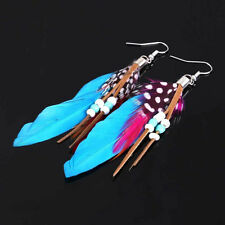 Charming Bohemian Gypsy Feather Leather Beads Tassel Dangling Earrings