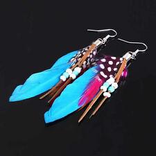 Bohemian Gypsy Fashion Feather Beads Tassel Distinct Dangling Earrings