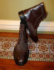 Cole Haan Nike Air Harrison Lace Wingtip Brown Leather Brogue Boots 8 M RARE