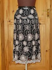 PER UNA black chiffon tulle white floral embroidered midi knee party skirt 12 40