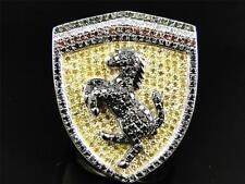 Mens White Gold Finish Custom Ferrari Car Logo Yellow Black Diamond Ring 2.1 Ct