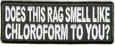 DOES THIS RAG SMELL LIKE CHLOROFORM? SEW OR IRONON EMBROIDERED CLOTH BIKER PATCH