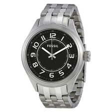 Fossil Asher Black Dial Stainless Steel Mens Watch BQ1037