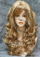 Bouncy Long Wavy Curly Golden PALE BLONDE WIG with full bangs JSCA 24-613