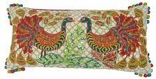 INDIAN ASIAN EMBROIDERED BEADED SEQUINS GREEN RED PEACOCK BOUDOIR CUSHION 30X65