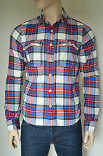 NEW Abercrombie & Fitch South Notch Flannel Shirt White & Blue Plaid L RRP £88