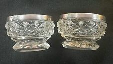 PAIR OF HALLMARKED SILVER RIMMED SALTS CUT GLASS BIRMINGHAM 1924