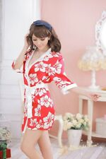 Fashion Women Bridal Bridesmaid Kimono Robe Bow Satin Night Dress Gown