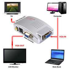 Computer VGA to TV RCA Composite Converter Adapter S-Video Box PC Laptop LCD #E