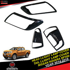 METALLIC Black Head Light Tail Light Lamp Cover NISSAN NAVARA NP300 2014-2016