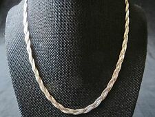 925 Sterling Silver Three Strand Herringbone Chain Necklace 11 Grams 18""