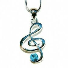 Blue w Swarovski Crystal TREBLE G CLEF MUSIC NOTE Musical Charm Pendant Necklace