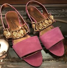 VTG Paloma Picasso Purple Suede Roman Inspired Flat Sling-back Sandles Sz 8.5 AA