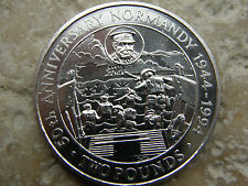 GUERNSEY  -TWO POUND COIN 1944-1994- * NORMANDY  D-DAY * CHURCHILL - WAR  -UNC