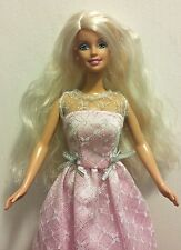 Mattel Barbie Doll Blonde in Pink and Silver Evening Gown and Pearl Earrings EUC