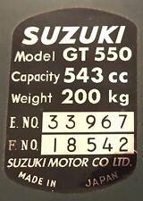 SUZUKI GT550 HEADSTOCK FRAME RESTORATION DECAL