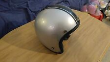 Nice Vintage 3/4 Open-Faced Motorcycle Helmet Silver Metal Flake Size Large USA