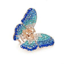 Blue Crystal Gold Tone Butterfly Hair Claw Clamp Clip UK Shop
