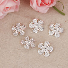 5pcs Silver Crystal Diamante Flower Shank Buttons DIY Embellishments 2.4cm