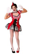 Ladies Sexy Black Red Joker Clown Halloween Fancy Dress Costume Outfit UK 10-12