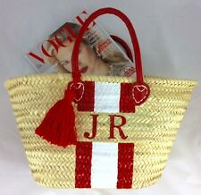MONOGRAM RED AND WHITE STRIPE BEACH BASKET PERSONALISE WITH INITIALS FOR FREE
