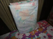 VINTAGE CANNON WATERCOLOR CORAL GREEN BLUE SOFT FLORAL TWIN FLAT SHEET 64 X 90