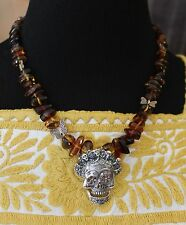 Sterling & Amber Day of the Dead Sugar Skull Necklace Chiapas Mexican Hippie