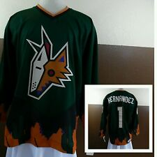 "VTG CCM Phoenix Coyotes Hockey Jersey NWT Custom ""Hernandez"" #1 Green/Orange XL"