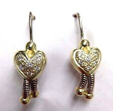 Cute Puffy Heart Diamond 14K White and Yellow Gold Dangle Earrings
