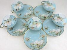 ANTIQUE NIPPON CUP/SAUCER SET 10 PC LIGHT BLUE,SWAN,WATER LILY FLOWER,GOLD RIM