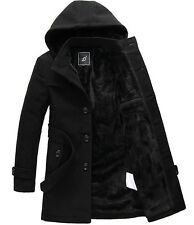 M038 mens winter fur lining wool long jacket cotton coat trench overcoat hoody