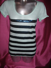 Victoria's Secret PINK Bling  T Shirt Mint Green  Blue Sequin Stripe Size XS NWT