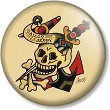 "Sailor Jerry Design Skull & Dagger 1"" 25mm Pin Button Badge Tattoo Retro Kitsch"