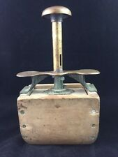 """Vintage BUTTER MOLD PRESS, 7 5/8"""" Unusual Brass and Wood Design, Marked 9072"""