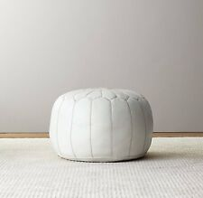 Stunning Moroccan Leather Ottoman Pouffe Pouf Footstool In White