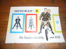 Prospekt Sales Brochure  NSU Quickly T Moped Mokick Mofa Bike Roller