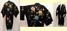 ANTIQUE CHINESE SILK EMBROIDERED KIMONO STUNNING LUSH FLOWERS BIRDS BLACK SILK M