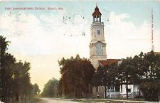BELOIT WISCONSIN FIRST CONGREGATIONAL CHURCH POSTCARD 1909