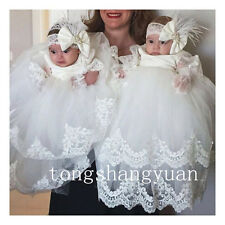 Baby Lace Applique Infant Baptism Gowns Long Sleeve Christening Dresses 2017 New