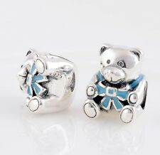 TEDDY BEAR w BLUE RIBBON ~ BOY .925 Sterling Silver European Charm Bead