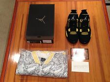 2006 Nike Air Jordan IV 4 Thunder Lighting Black Yellow W/ Jacket Size 11.5