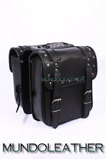 SADDLE BAG BLACK MOTORBIKE SISSY BAR LUGGAGE CRUISER PANNIERS STUDDED HARLEY NEW