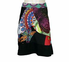 2660 New Desigual Floral Printed Cotton Black Skirt Extra Small XS