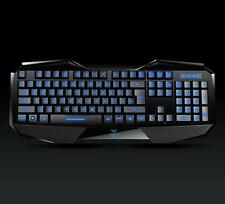 Illuminated 3-Color LED Backlit USB Wired Programmable Gaming Game Keyboard