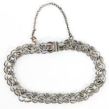 Jacoby Bender 925 Sterling Starter Charm Bracelet Fancy Double Link VINTAGE